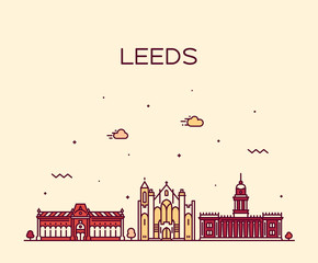 Fotomurales - Leeds West Yorkshire England vector linear style
