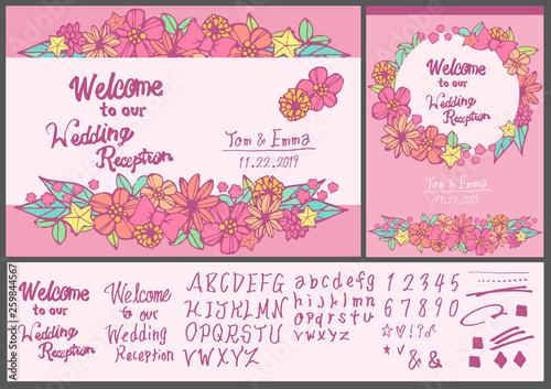 結婚式の案内 ウェルカムボード 手書きの花柄イラスト 手書きの文字