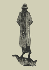 a man in an elegant cloak and a hat with a falling shadow in the form of a wolf. hand-drawn graphic vector illustration