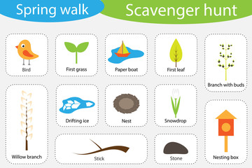 Scavenger hunt, spring walk, different colorful pictures for children, fun education search game for kids, development for toddlers, preschool activity, set of icons, vector illustration