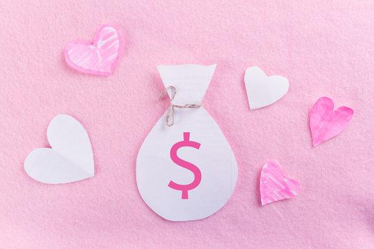 money on pink background
