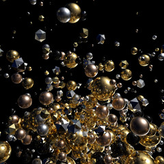 Elegant Abstract Geometry Explosion 2 -Gold and Silver,Black- 3D Motion Graphics Design
