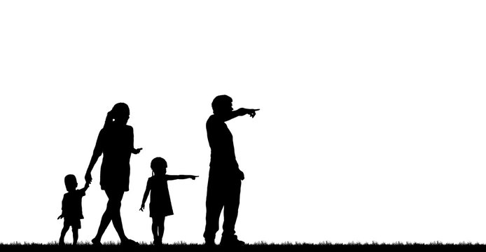 silhouette happy family on white background