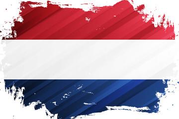 Flag of the Netherlands brush stroke background. National flag of the Kingdom of the Netherlands. Vector illustration. Wall mural
