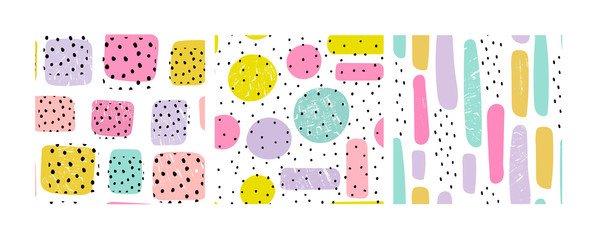 Wall Mural - Hand drawn various shapes, dots and drops. Set of three abstract contemporary seamless patterns. Modern trendy vector illustration. Perfect for textile prints. Every pattern is isolated