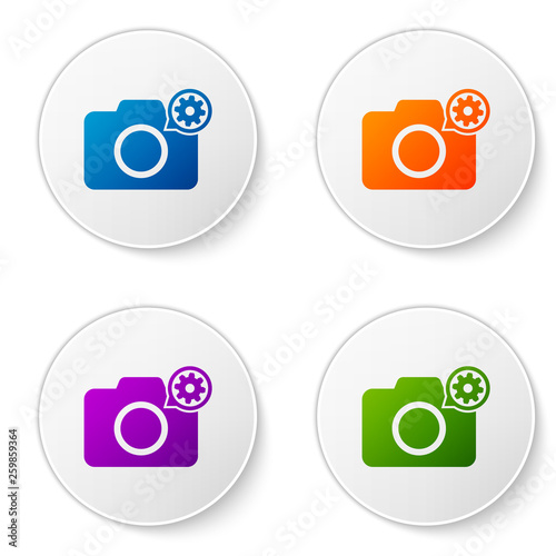 Color Photo camera and gear icon isolated on white