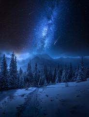 Fototapete - Milky way, Tatras Mountains in winter at night, Poland
