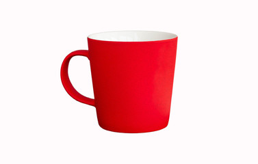 bright red empty ceramic mug with oil paint strokes surface, isolated on white background