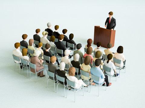 話を聞くために集まる人々
