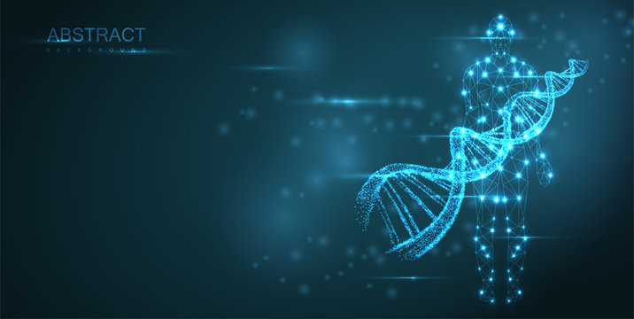 Blue abstract background with luminous DNA molecule, neon helix and human silhouette.