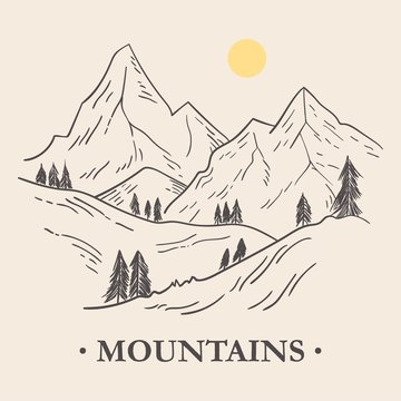 Hand drawn illustration of mountains landscape and pine trees. Sketch in vintage style.