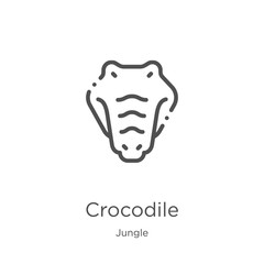 crocodile icon vector from jungle collection. Thin line crocodile outline icon vector illustration. Outline, thin line crocodile icon for website design and mobile, app development