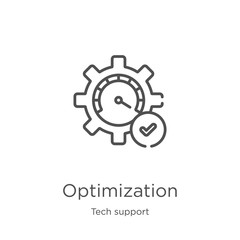 optimization icon vector from tech support collection. Thin line optimization outline icon vector illustration. Outline, thin line optimization icon for website design and mobile, app development