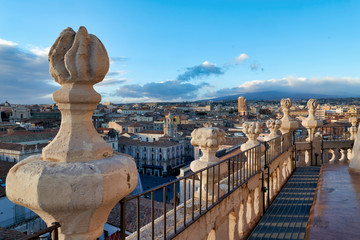Panorama elevated view of Catania Sicily Italy