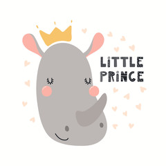 Foto auf Gartenposter Abbildungen Hand drawn vector illustration of a cute funny rhino in a crown, with lettering quote Little prince. Isolated objects on white background. Scandinavian style flat design. Concept for children print.