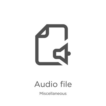 audio file icon vector from miscellaneous collection. Thin line audio file outline icon vector illustration. Outline, thin line audio file icon for website design and mobile, app development