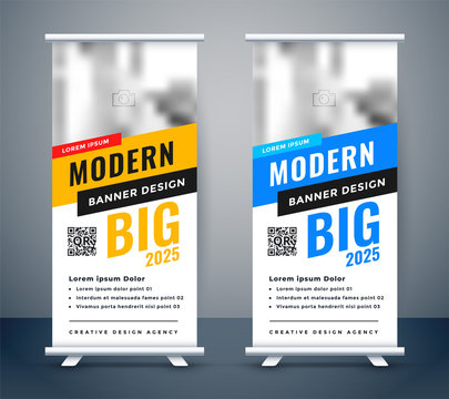 creative blue and yellow rollup standee banner design