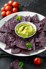 Blue corn Organic tortilla chips with Guacamole