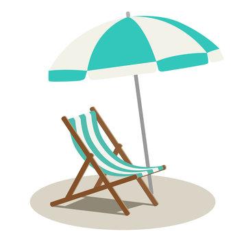 ビーチチェアとビーチパラソル