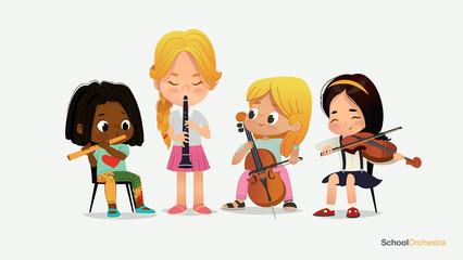 Children Girl Orchestra Play Different Music Instrument