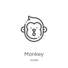 monkey icon vector from jungle collection. Thin line monkey outline icon vector illustration. Outline, thin line monkey icon for website design and mobile, app development