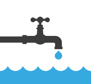Turn off the water сonceptual vector