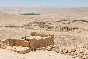 Ruins of the temple in the ancient city Avdat, national park Avdat in the Negev desert in the south of Israel