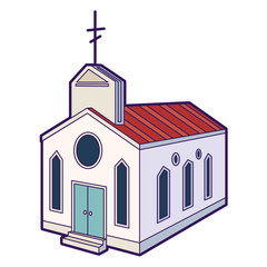 Church icon. Hand drawn illustration of christian church icon for web design