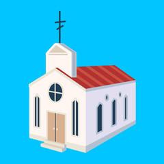 Church icon. Hand drawn illustration of christian church icon for web design