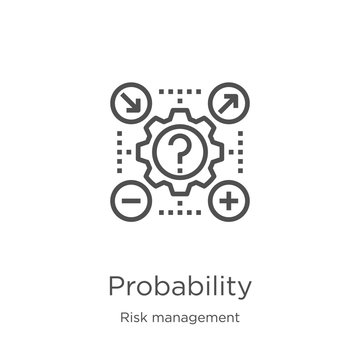 probability icon vector from risk management collection. Thin line probability outline icon vector illustration. Outline, thin line probability icon for website design and mobile, app development