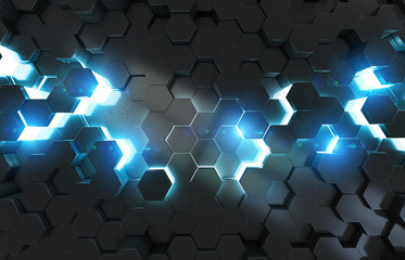 Glowing black blue hexagons background pattern on metal surface 3D rendering