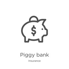 piggy bank icon vector from insurance collection. Thin line piggy bank outline icon vector illustration. Outline, thin line piggy bank icon for website design and mobile, app development