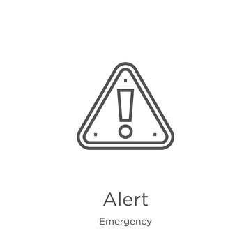 alert icon vector from emergency collection. Thin line alert outline icon vector illustration. Outline, thin line alert icon for website design and mobile, app development