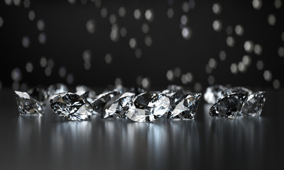Group of Clear Diamonds and light bokeh background 3d rendering. Wall mural