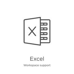 excel icon vector from workspace support collection. Thin line excel outline icon vector illustration. Outline, thin line excel icon for website design and mobile, app development