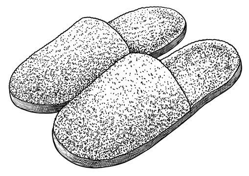 Home slipper illustration, drawing, engraving, ink, line art, vector