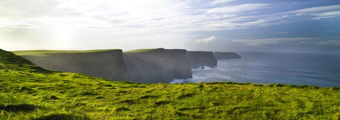 Foto auf Acrylglas Weiß Cliffs of Moher Burren, green grass, morming, County Clare, Ireland