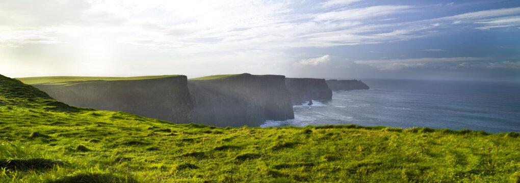 Cliffs of Moher Burren, green grass, morming, County Clare, Ireland