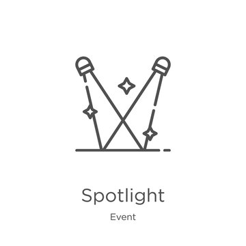 spotlight icon vector from event collection. Thin line spotlight outline icon vector illustration. Outline, thin line spotlight icon for website design and mobile, app development