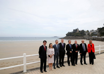 Family photo during the Foreign ministers of G7 nations meeting in Dinard