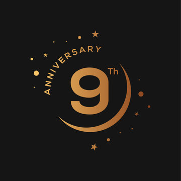 9 years anniversary celebration golden logotype