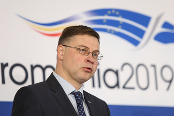 EU Commission Vice-President for Financial Services and Capital Markets Union Valdis Dombrovskis delivers a speech during a news conference