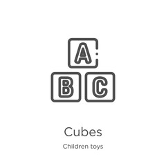 cubes icon vector from children toys collection. Thin line cubes outline icon vector illustration. Outline, thin line cubes icon for website design and mobile, app development
