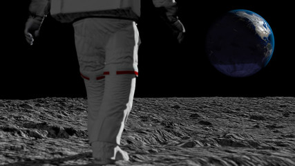 Wall Murals Nasa Astronaut walking on the moon and admiring the beautiful Earth. CG Animation. Elements of this image furnished by NASA. 3D rendering