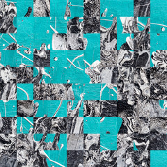 Pixelated turquoise and black fluid acrylic painting pattern design