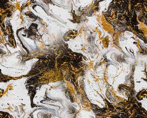 Gold, brown and white fluid acrylic pour painting as seamless surface pattern design