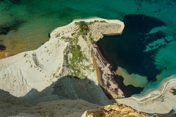 Corfu, view of the cliffs from the viewpoint of Cape Drastis.