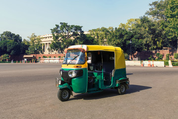 traditional indian moto rickshaw taxi on one Wall mural