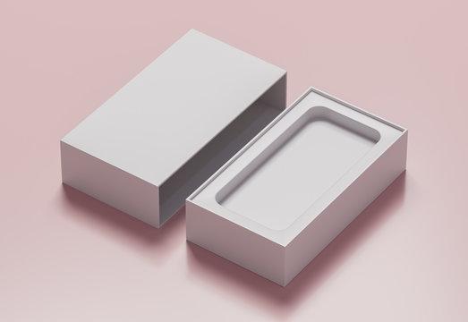 Empty white phone box  - 3D illustration