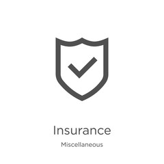 insurance icon vector from miscellaneous collection. Thin line insurance outline icon vector illustration. Outline, thin line insurance icon for website design and mobile, app development